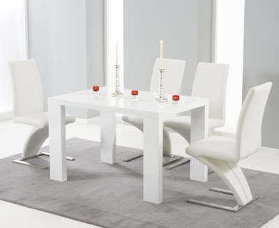 Mark Harris Malpensa White High Gloss Large Dining Table and 4 Hereford White Chairs