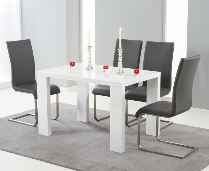 Mark Harris Malpensa White High Gloss Large Dining Table and 4 Malibu Grey Chairs