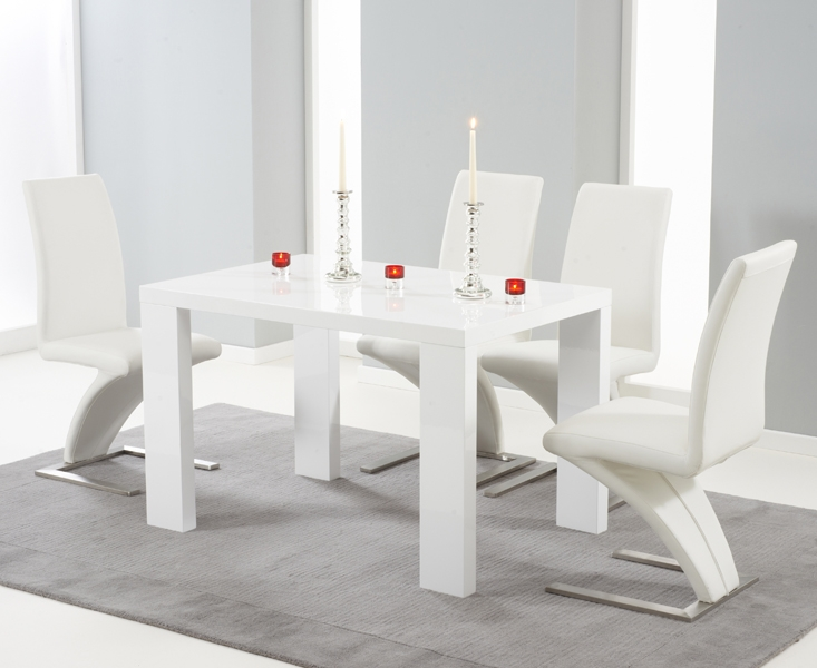 Mark Harris Malpensa White High Gloss Large Dining Table And 4 Hereford White Chairs Cfs Furniture Uk
