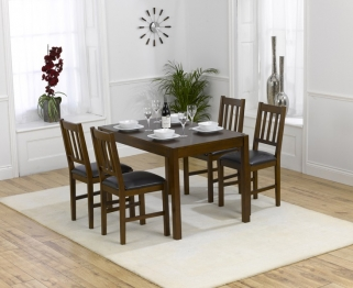 Mark Harris Marbella Dark 120cm Dining Table with 4 Chairs