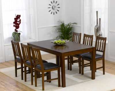 Mark Harris Marbella Dark Oak Large Dining Table and 4 Brown Chairs