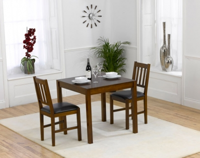 Mark Harris Marbella Dark Oak Square Dining Table and 2 Brown Chairs