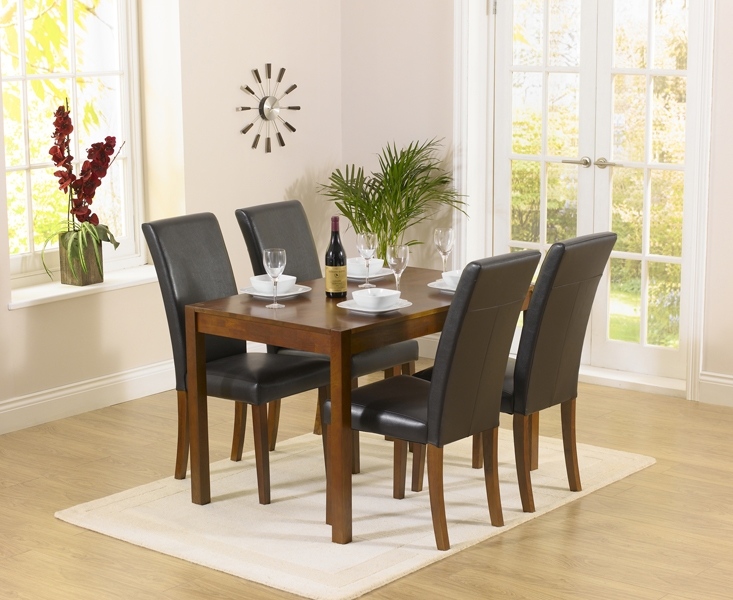 Mark Harris Marbella Dark Oak Dining Table and 4 Atlanta Brown Chairs
