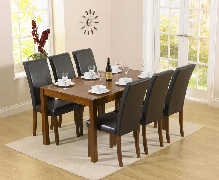 Mark Harris Marbella Dark Dining Set - 150cm Rectangular with 4 Dark Atlanta Chairs