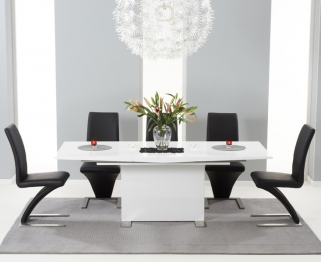 Mark Harris Marila White High Gloss Extending Dining Set with 6 Hereford Black Dining Chairs