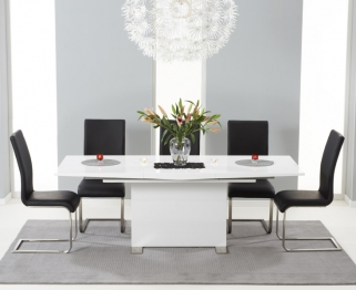 Mark Harris Marila White High Gloss Extending Dining Set with 6 Malibu Black Dining Chairs