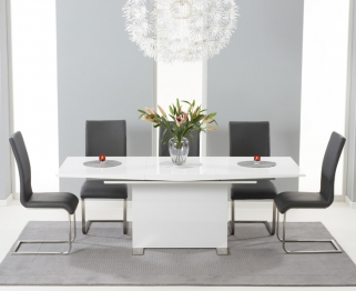 Mark Harris Marila White High Gloss Extending Dining Set with 6 Malibu Grey Dining Chairs