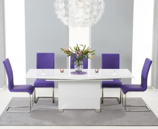 Mark Harris Marila White High Gloss Extending Dining Set with 6 Purple Chairs