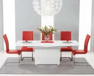 Mark Harris Marila White High Gloss Extending Dining Set with 6 Malibu Red Dining Chairs