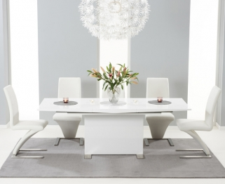 Mark Harris Marila White High Gloss Extending Dining Set with 6 Hereford White Dining Chairs