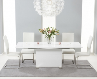 Mark Harris Marila White High Gloss Extending Dining Set with 6 Ivory Chairs