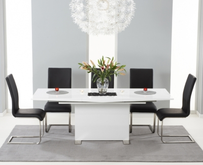 Mark Harris Marila White High Gloss Extending Dining Table and 6 Malibu Black Chairs