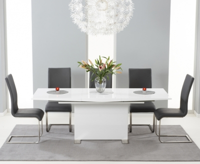 Mark Harris Marila White High Gloss Extending Dining Table and 6 Malibu Grey Chairs