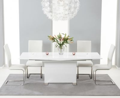 Mark Harris Marila White High Gloss Extending Dining Table and 6 Malibu Chairs