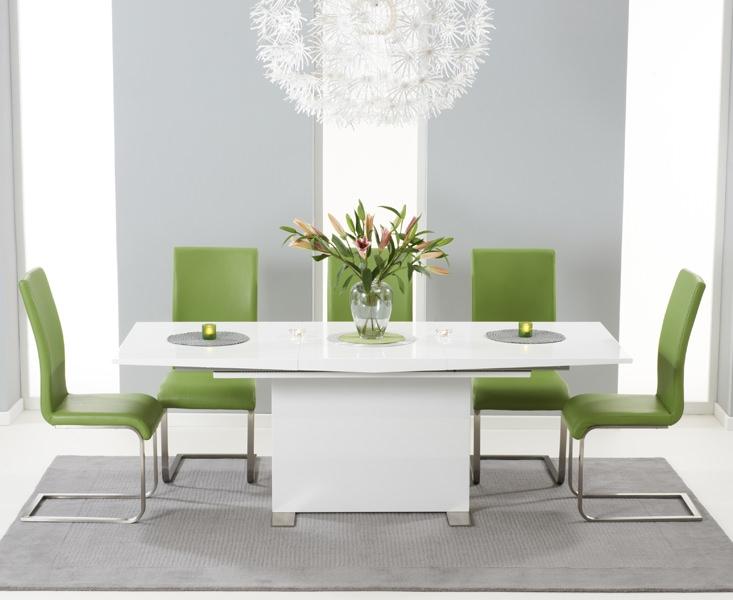 Mark Harris Marila White High Gloss Extending Dining Set with 6 Malibu Green Dining Chairs