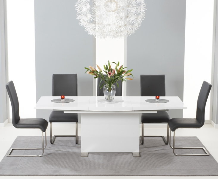 Mark Harris Marila White High Gloss Extending Dining Set with 6 Grey Dining Chairs