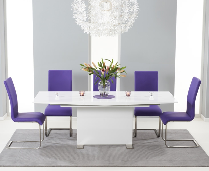 Mark Harris Marila White High Gloss Extending Dining Set with 6 Malibu Purple Dining Chairs