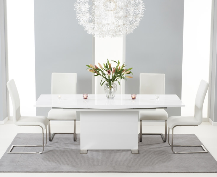Mark Harris Marila White High Gloss Extending Dining Set with 6 Malibu Ivory Dining Chairs