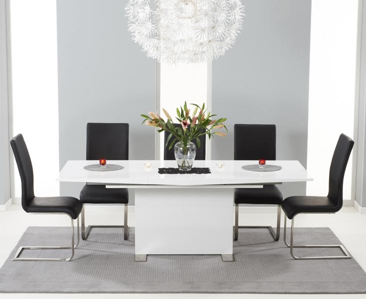 Mark Harris Marila White High Gloss Dining Set - 150 Extending with 6 Malibu Black Chairs