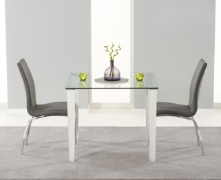 Mark Harris Melrose Clear Glass Top Dining Set with 2 Grey Carsen Dining Chairs