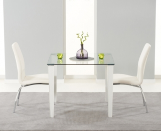 Mark Harris Melrose Clear Glass Top Dining Set with 2 White Carsen Dining Chairs