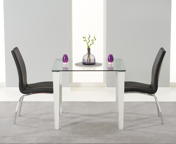 Mark Harris Melrose Clear Glass Dining Set - 90cm with 2 Black Carsen chairs