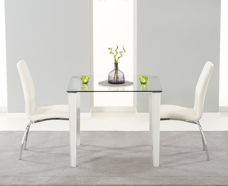 Mark Harris Melrose Clear Glass Top Dining Set - with 2 White Carsen Chairs