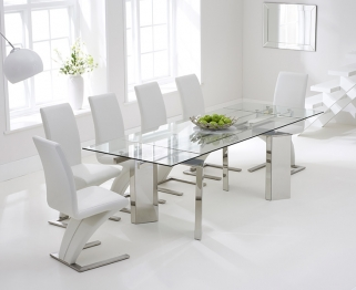 Mark Harris Millicent 160cm Glass Extending Dining Table with 6 Hereford Z White Chairs