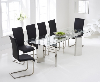 Mark Harris Millicent 160cm Glass Extending Dining Table with 6 Malibu Black Chairs