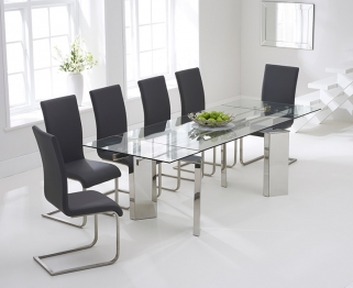 Mark Harris Millicent 160cm Glass Extending Dining Table with 6 Malibu Grey Chairs