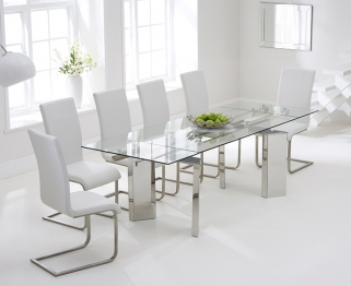 Mark Harris Millicent 160cm Glass Extending Dining Table with 6 Malibu White Chairs