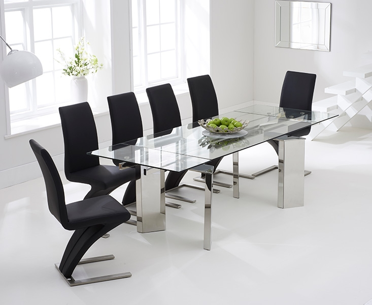 Mark Harris Millicent 160cm Glass Extending Dining Set with 6 Hereford Z Black Dining Chairs