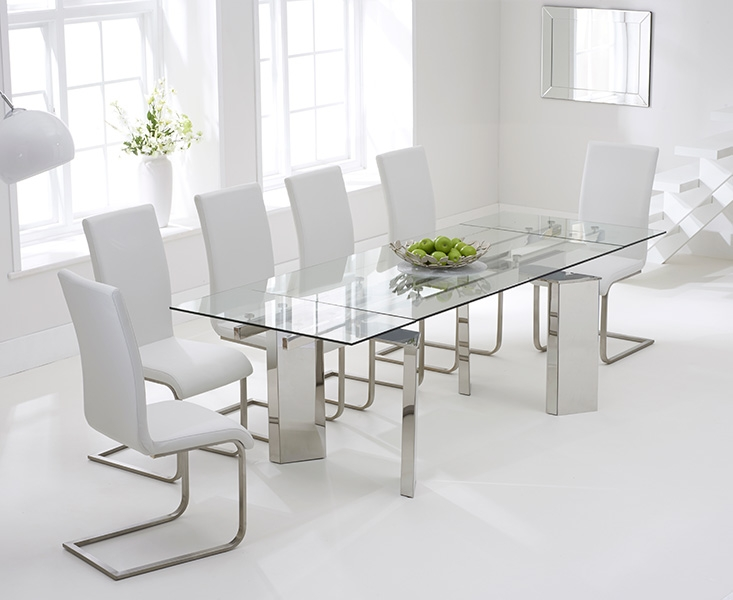 Buy Mark Harris Millicent 160cm Glass Extending Dining Set With 6 Malibu Whit