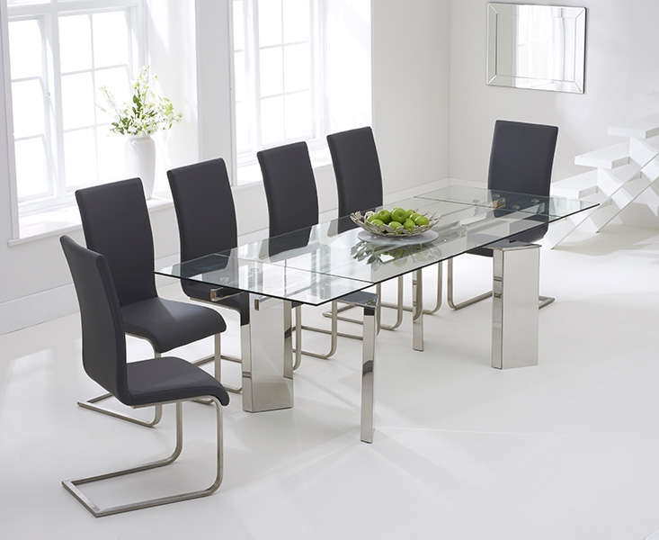 Mark Harris Millicent Glass Dining Set - 160cm Extending with 6 Malibu Grey Chairs