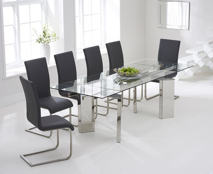 Mark Harris Millicent Glass Dining Set - 160cm Rectangular Extending with 6 Malibu Grey Chairs