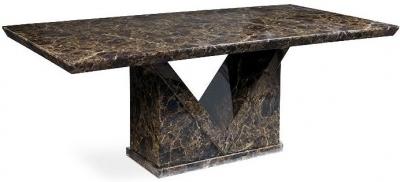 Mark Harris Minsk Brown Marble Rectangular Dining Table - 220cm