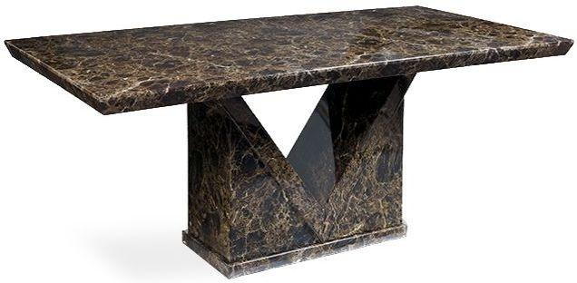 Mark Harris Minsk Brown Marble Dining Table - 160cm Rectangular