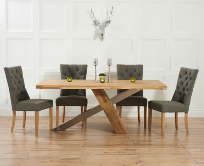 Mark Harris Montana Solid Oak and Metal 180cm Dining Set with 4 Albury Grey Dining chairs