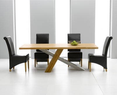 Mark Harris Montana Solid Oak and Metal 180cm Dining Set with 4 Barcelona Brown Dining chairs