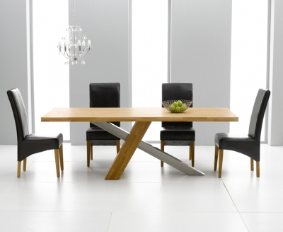 Mark Harris Montana Oak and Metal 180cm Dining Set with 4 Roma Brown Dining chairs