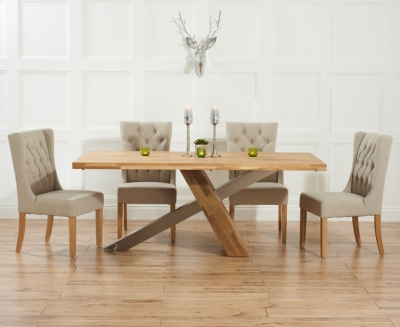 Mark Harris Montana Solid Oak and Metal 180cm Dining Set with 4 Stefini Beige Dining chairs