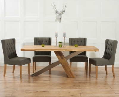 Mark Harris Montana Solid Oak and Metal 180cm Dining Set with 4 Stefini Grey Dining chairs