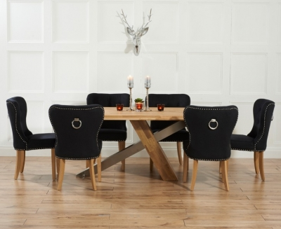 Mark Harris Montana Oak and Metal 180cm Dining Set with 6 Kalim Black Dining chairs
