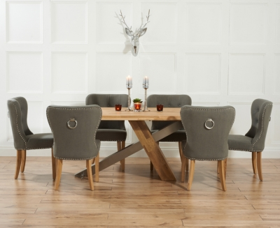 Mark Harris Montana Oak and Metal 180cm Dining Set with 6 Kalim Grey Dining chairs