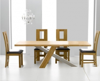 Mark Harris Montana Solid Oak and Metal 180cm Dining Table with 4 John Louis Brown Chairs