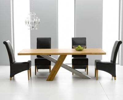 Mark Harris Montana Solid Oak and Metal 195cm Dining Set with 4 Barcelona Black Dining chairs