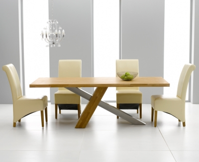 Mark Harris Montana Oak and Metal 195cm Dining Set with 4 Barcelona Cream Dining chairs