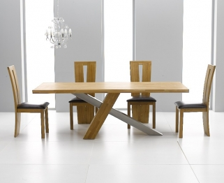 Mark Harris Montana Solid Oak and Metal 195cm Dining Table with 4 Arizona Black Chairs