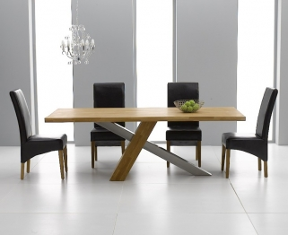 Mark Harris Montana Solid Oak and Metal 195cm Dining Table with 4 Roma Black Chairs