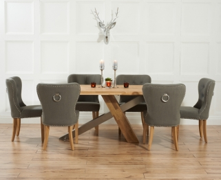 Mark Harris Montana Solid Oak and Metal 195cm Dining Table with 6 Kalim Grey Chairs